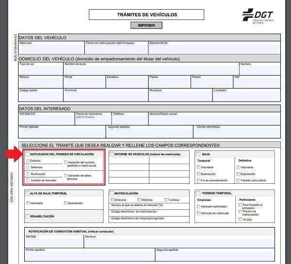 impreso DGT duplicado permiso de conducción